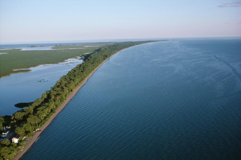 Aerial view of shoreline Lake Ontario, Canada