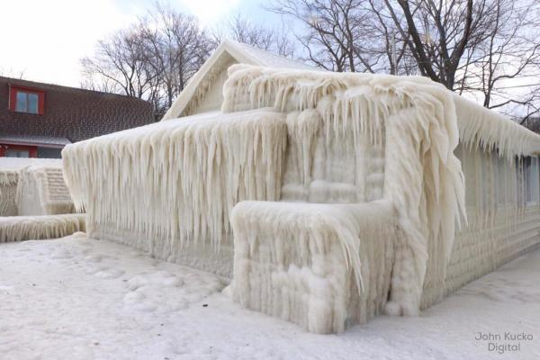 Freezing spray from Lake Ontario created this 'ice house.'
