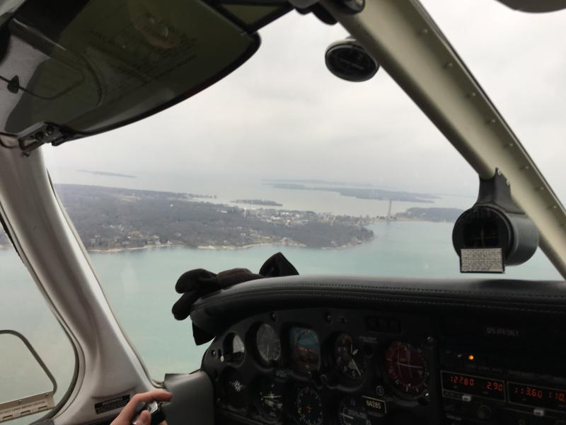 On some islands in Lake Erie, students fly to school.