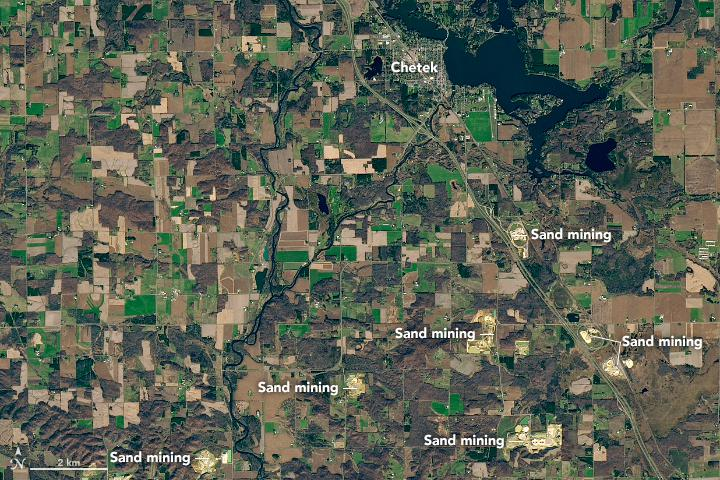 Wisconsin sand mines captured by Earth Observatory satellite